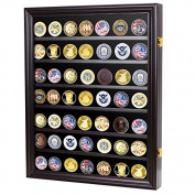 Military Challenge Coin Display Case Cabinet Rack Shadow Box Wood COIN56--BLA