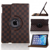 Creeracity New LV Grid Map Pattern Auto Sleep/Wake Function 360 Degree Rotating Smart Case Cover for iPad Air 2 Gen Generation - (Supports Auto Wake/Sleep Function) With Free Stylus