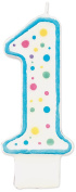 Wilton W91-01B Polka Dot Numeral Candle, 7.6cm by 3.8cm , No. 1 Blue, 1-Pack