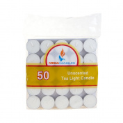 Mega Candles - Unscented Tea Light Candles - White, Set of 50