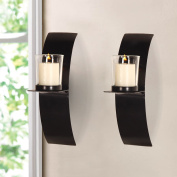 Adeco Iron and Glass Vertical Wall Hanging Candle Holder Sconce, Minimalist Modern Style, Holds 1 Pillar Candle