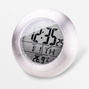 HITO LCD Bathroom Shower Clock displays Time, Date, Week and Temperature w/ suction cup, hanging hole AND table stand