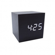 Cube Wood LED Alarm Clock - Time Temperature Date - Sound Control - Latest Generation