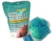 Bath Bundle with Sore Muscle and Back Soak Eucalyptus Scented Epsom Salt and Multi Coloured Blue Green Teal Mesh Bath Sponge
