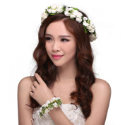Valdler Flower Headband Wedding Hair Wreath Floral Crown with floral bracelet White