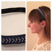 Fabulicious Navy White Stitch Leather Headband© - Stitching Seam Sports softball baseball fast pitch