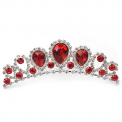 Vogue Women Wedding Bride Party Rhinestone Red Acrylic Crown Tiara Hair Comb