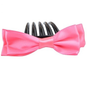 Elegant 5-Pin Double-deck Bowknot Shape Hair Comb Rose Red