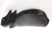 Time Roaming 100% Handmade Natural Horn Comb Creative Design 14cm Pocket Comb, Narrow Tooth, Health & Beauty Comb, Black Ox Horn Mini Rabbit Moulding