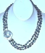 50cm Long 3 Row Necklace with Hand Knotted Culture Fresh Water Pearl and MOP Mother of Pearl Flower Pendant