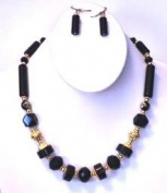 46cm Long Necklaces with Semi-precious Natural Stone, Cloisonne Bead + Matching Earring