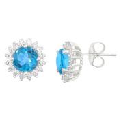 14k White Gold Brilliant Round Blue Topaz & Diamond Halo Stud Earrings