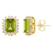 14k Yellow Gold Emerald Cut Peridot & Brilliant Round Diamond Halo Stud Earrings