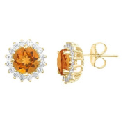 14k Yellow Gold Brilliant Round Citrine & Diamond Halo Stud Earrings