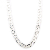 Sterling Silver Flat Circle-Link 6mm Chain Necklace Nickel Free Italy