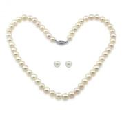 """14k White Gold 7.0-7.5mm White Japanese Saltwater Akoya Pearl High Lustre Necklace 18"""" & 14k White Gold Akoya Stud Earring Set"""