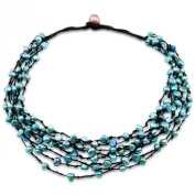 Genuine 8-Row Hand Woven sapphire Blue Freshwater Cultured Pearl Necklace 48cm
