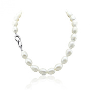 White Freshwater Cultured Pearl Necklace 11-13mm Natural Rice/ Tear Drop/ Oval Shape pearls, 18 Inch Princess Length