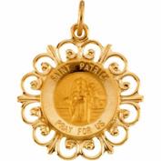 14k Yellow Gold St. Patrick Filigree Medal