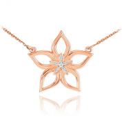 14k Rose Gold Diamond-Accented 5-Petal Star Flower Pendant Necklace
