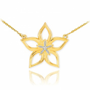 14k Yellow Gold Diamond-Accented 5-Petal Star Flower Pendant Necklace