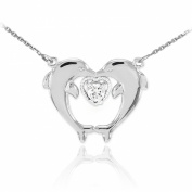 14k White Gold Diamond-Accented Heart Kissing Dolphins Pendant Necklace