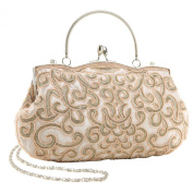 MG Collection Adele Elegant Hand Embroidered Seed Beaded Evening Baguette Clutch