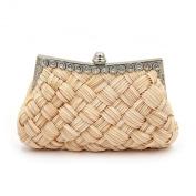 Elegant Braided Pleated Glitter Rhinestone Clutch Evening Bag - Diff Colours