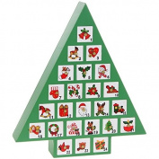 FABULOUS QUALITY WOODEN GREEN CHRISTMAS TREE ADVENT CALENDAR XMAS NEW & BOXED