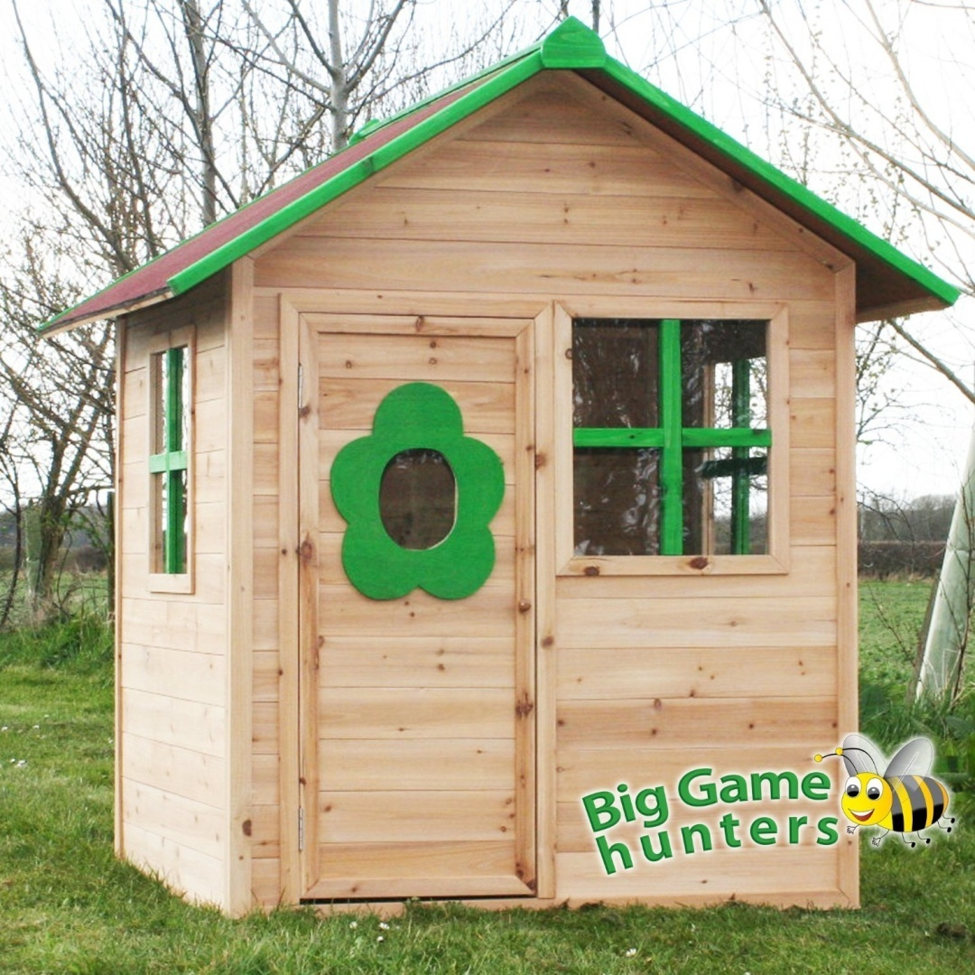Elmsvalley Cabin Wooden Playhouse Pre Painted Childrens Wendy House With Flower Window Protective Roof