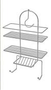 3 Tier Hanging Shower Caddy Chrome Organiser with Hook Shelf Basket Bathroom