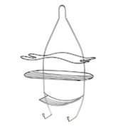 HIGH QUALITY CHROME 3 TIER HANGING SHOWER BATHROOM CADDY WITH HOOKS