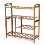 WoodLuv 4-Tier Natural Bamboo Wooden Shoe Rack Shelf Holder Storage Organiser