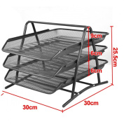 Beyondfashion Wire Mesh Office A4 Document Letter Paper Storage Filing Trays Holder 3Tiers