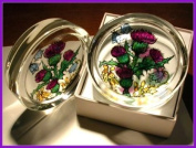 Decorative Hand Painted Stained Glass Paperweight in a Scottish Flowers Design.