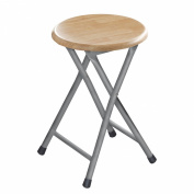 Folding Stool Wood Veneer Seat Silver Coloured Legs Attractive And Good Quality