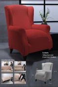 Ideal Textiles, Easy Fit Stretch Elastic Wing Chair Fabric Slip Over Washable Cover, Red