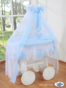 DELUXE HEART COLLECTION - LARGE WHEELED WHITE WICKER CRIB / MOSES BASKET / BASSINET / BABY COT WITH DRAPE / CANOPY NET - SOLID WOOD WHITE BASE + QUALITY BLUE & WHITE BEDDING SET + QUALITY MATTRESS + CANOPY NET HOLDER