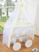 DELUXE HEART COLLECTION - LARGE WHEELED WHITE WICKER CRIB / MOSES BASKET / BASSINET / BABY COT WITH DRAPE / CANOPY NET - SOLID WOOD WHITE BASE + QUALITY CREAM & WHITE BEDDING SET + QUALITY MATTRESS + CANOPY NET HOLDER