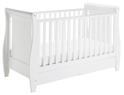 Babymore Stella Sleigh Cot Bed Dropside with Drawer