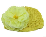 BuyHere Cute Baby Girl Flower Cotton Cap,Yellow