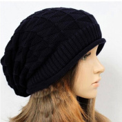 HuaYang Fashion Unisex Autumn Winter Warm Folded Knitted Cap Baggy Hat Hooded Earflaps