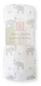 SwaddleDesigns Marquisette Swaddling Blanket, Premium Cotton Muslin, Elephant & Chickies, Pastel Blue