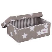 Minene Small Foldable Fabric Storage Box L32xW21xH12cmLinen Cosmetic Stationery Organiser with Flowers Star Storage