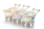 ASVP Shop® BABY PRAM SMALL HAMPER WICKER BASKET BABY SHOWER PARTY GIFTS