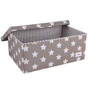 Minene Large Storage Box with Lid Grey Star - star storage box, large fabric storage box - great for toy storage, kids storage