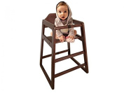 Oypla Stackable Kids Baby Wooden Feeding Commercial Home High Chair - Dark Brown