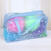 Lady's Floral Transparent Ventilate Net Make Up Case Cosmetics Pouch Bath Bags Blue