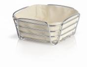blomus Small Chrome Plated Metal Wire Cotton Delara Bread Basket, Sand