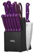 Ginsu 3891 Essential Series 14-piece Cutlery Set with Black Block, Purple